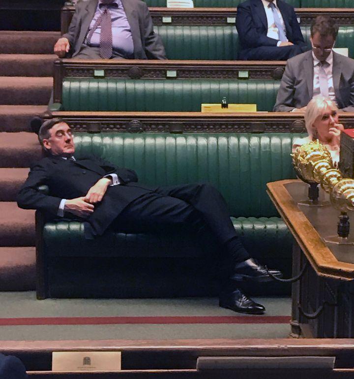 Jacob Rees-Mogg dans la Chambre des communes, le 3 septembre 2019. (ANNA TURLEY / AFP)