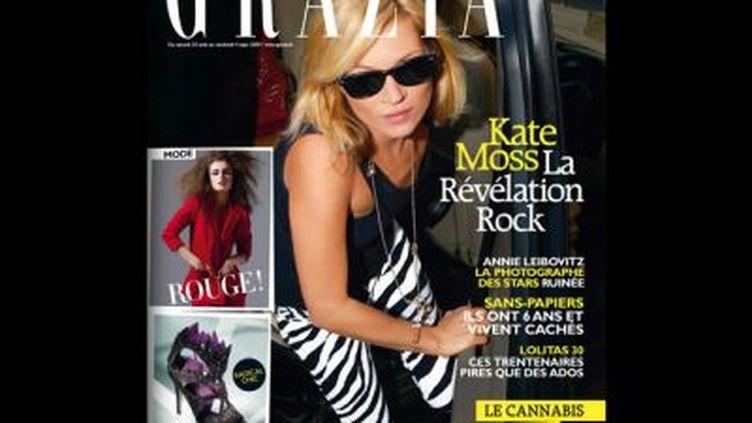Kate Moss est en couverture du premier numéro français de Grazia (© DR)