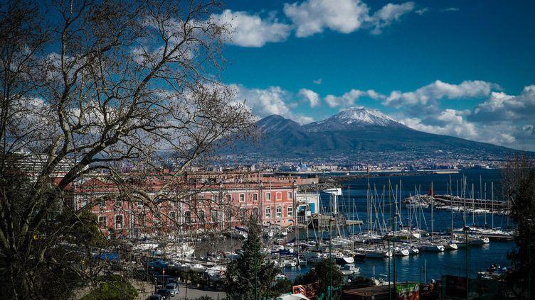 Une vue du Vésuve depuis Naples, le 14 février 2021. Photo d'illustration. (CESARE ABBATE / ANSA / AFP)