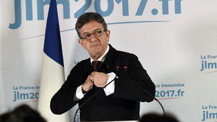 Jean-Luc Mélenchon lors d'un discours au soir du premier tour, dimanche 23 avril 2017 à Paris. (BERTRAND GUAY / AFP)