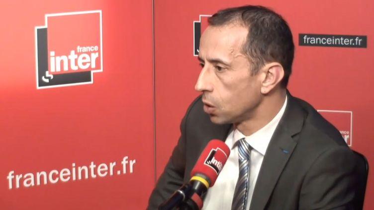 Jean-François Balaudé, le président de l'Université de Nanterre (Hauts-de-Seine) dans le studio de France Inter, le 18 avril 2018. (FRANCE INTER / RADIO FRANCE)