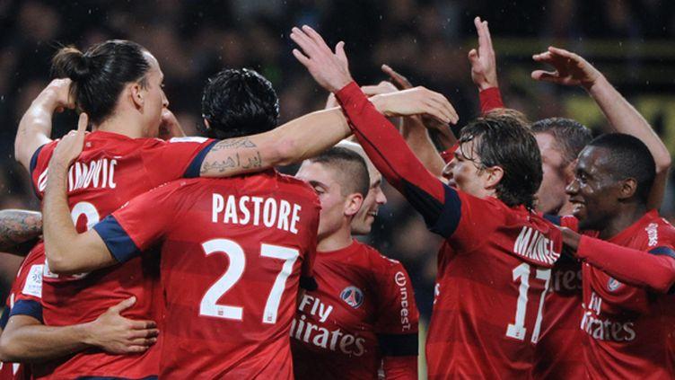 La joie des joueurs du PSG après la victoire face à Toulouse
