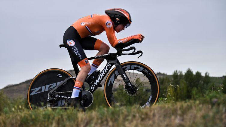 Anna van der Breggen lors de son CLM victorieux à Imola. (MARCO BERTORELLO / AFP)