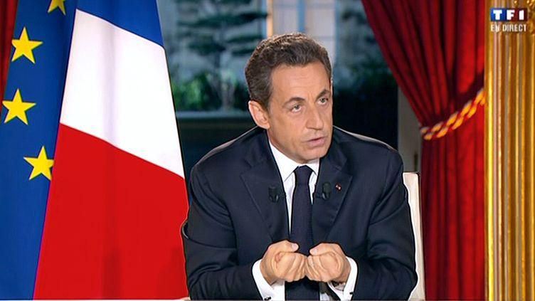 Nicolas Sarkozy lors de son intervention télévisée, dimanche 29 janvier 2012. (AFP)