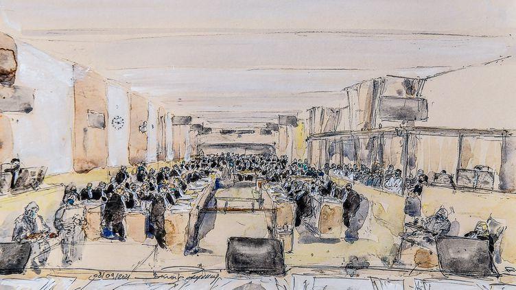 Dessin de presse de la salle d'audience lors du premier jour du procès du 13-Novembre, le 8 septembre. (BENOIT PEYRUCQ / AFP)