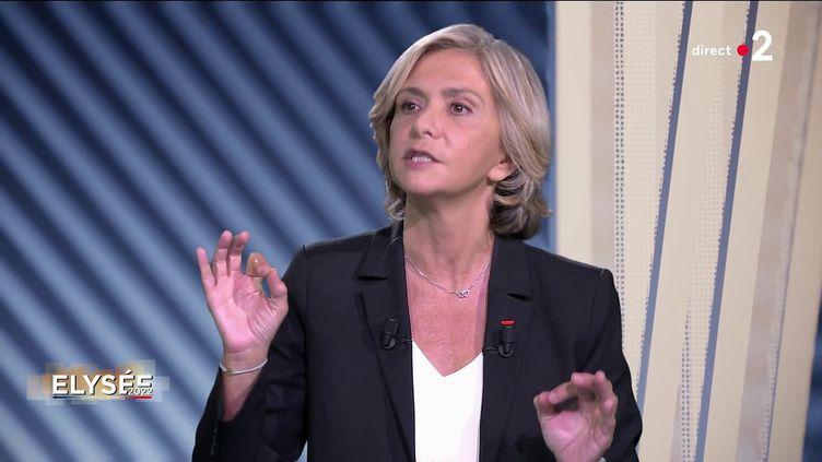 """Valérie Pécresse, présidente de la région Ile-de-France, candidate à la primaire de la droite pour la présidentielle, le 23 septembre 2021, sur le plateau d'""""Elysée 2022"""". (FRANCE 2)"""