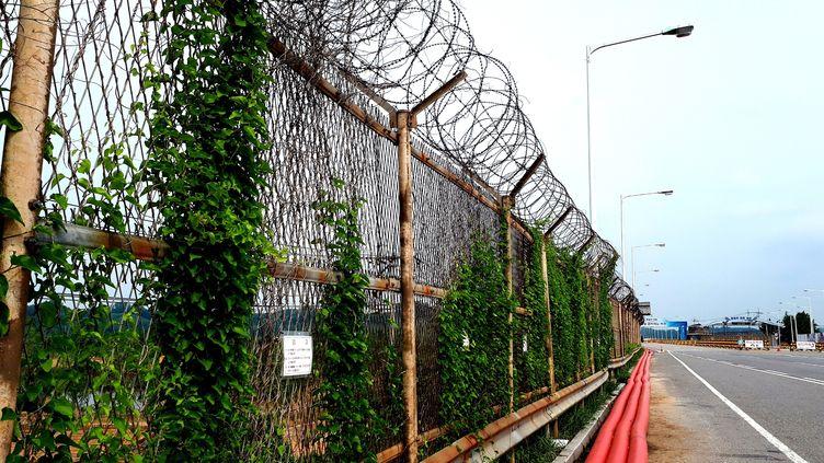 Le Tongil bridge sur la Zone démilitarisée entre la Corée du Sud et la Corée du Nord, le 12 juin 2018. (BENJAMIN ILLY / FRANCEINFO)