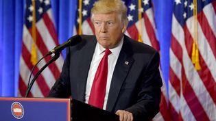 Donald Trump, lors de sa conférence de presse à la Trump Tower à Manhattan, mercredi 11 janvier. (TIMOTHY A. CLARY / AFP)