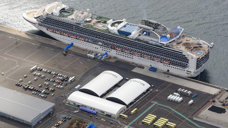"Le navire de croisière ""Diamond Princess"" à Yokohama (Japon), le 19 février 2020. (KOJI ITO / YOMIURI / AFP)"