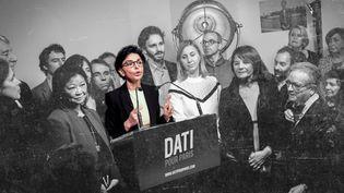 Rachida Dati, candidate LR à la mairie de Paris,présente ses vœux à la presse, le 18 janvier 2020. (ELKO HIRSCH / HANS LUCAS / AFP / BAPTISTE BOYER ET PIERRE-ALBERT JOSSERAND / FRANCEINFO)