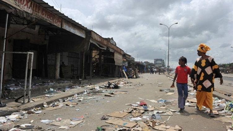 Le quartier d'Abobo à Abidjan, le 2 mars, quelques jours après le clash entre manifestants et forces loyales à Gbagbo. (AFP - Issouf Sanogo)