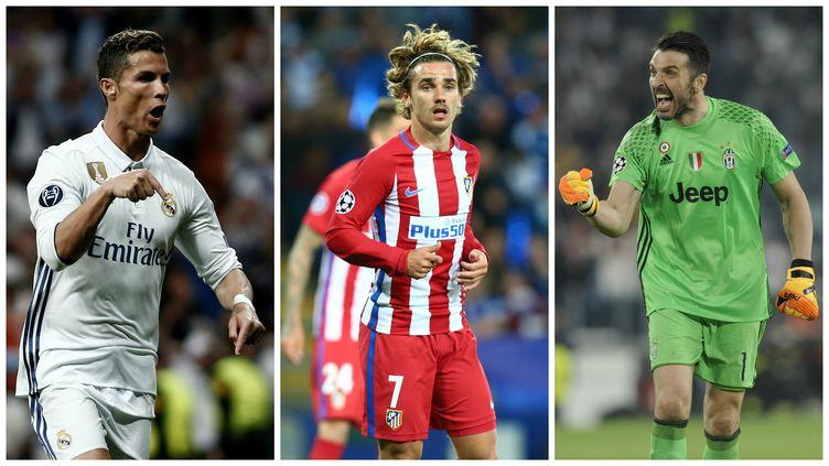 De gauche à droite, Cristiano Ronaldo (Real Madrid), Antoine Griezmann (Atletico Madrid) et Gianluigi Buffon (Juventus Turin) se sont qualifiés pour les demi-finales de la Ligue des Champions où ils pourraient croiser la route de l'AS Monaco.