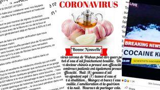 Des captures d'écran de conseils pour lutter contre le coronavirus, partagés sur les réseaux sociaux et via des applications de messagerie. (CAPTURES D'ECRAN)