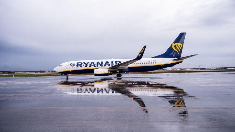 Un avion de la compagnie irlandaise Ryanair, le 1er février 2020 sur le tarmac de l'aéroport de Francfort, en Allemagne. (ANDREAS ARNOLD / DPA / AFP)