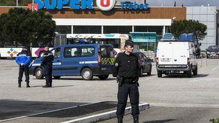 Une prise d'otages a eu lieu dans un supermarché de Trèbes (Aude), à proximité de Carcassonne, le 23 mars 2018 (IDRISS BIGOU-GILLES / HANS LUCAS)