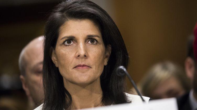 L'ambassadrice des Etats-Unis à l'ONU, le 18 janvier 2017. (SAMUEL CORUM / ANADOLU AGENCY / AFP)