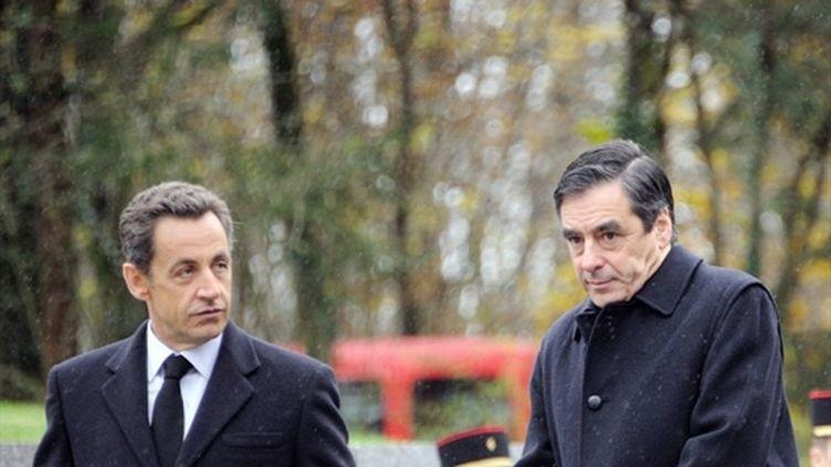 François Fillon et Nicolas Sarkozy le 9 novembre 2010 à Colombey-les-Deux-Eglises (AFP - ERIC FEFERBERG)