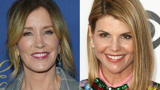 Les deux actrices hollywoodiennes, Felicity Huffman etLoriLoughlin, ont été incuplées le 12 mars 2019 dans une affaire de pots-de-vin. (LISA O'CONNOR / TOMMASO BODDI / AFP)