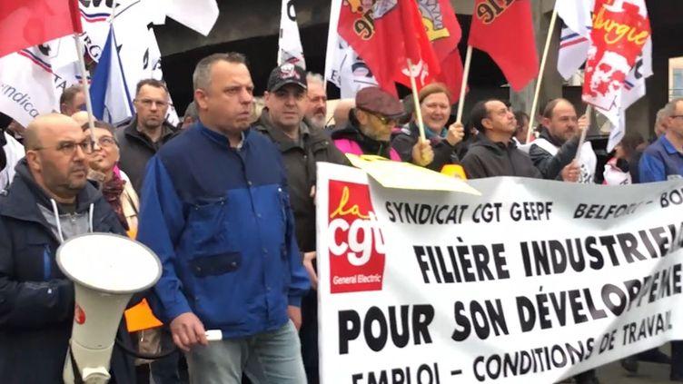 Des salariés de General Electrics manifestent à Belfort, mardi 21 mai 2019. (FRANCEINFO / RADIOFRANCE)
