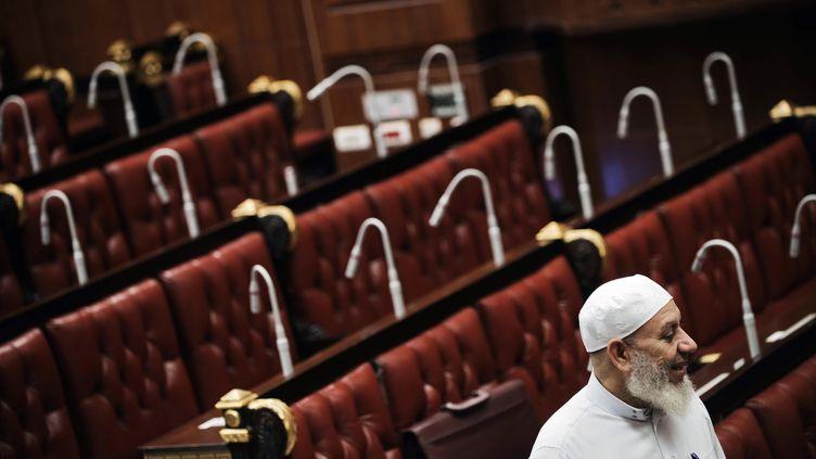 Un membre du comité constitutionnel égyptien, lors du vote du projet de loi constitutionnelle, le 29 novembre 2012 au Caire (Egypte). (GIANLUIGI GUERCIA / AFP)