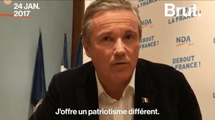 Vendredi 28 avril, Nicolas Dupont-Aignan a annoncé sur France 2 qu'il soutiendrait Marine Le Pen au second tour de l'élection présidentielle. Un revirement pour celui qui soulignait ses différences avec le Front National le 24 janvier dernier lorsd'un entretien pourBrut.  (Brut)