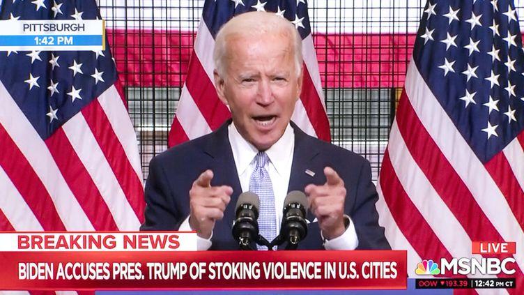 Joe Biden lors de sa conférence de presse àPittsburgh le 31 août 2020. (MSNBC / MAXPPP)