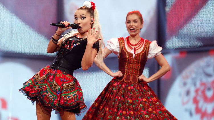 Donatan & Cleo, représentantes de la Pologne au concours Eurovision de la chanson, à Copenhague (Danemark), le 9 mai 2014. (JORG CARSTENSEN / DPA / AFP)