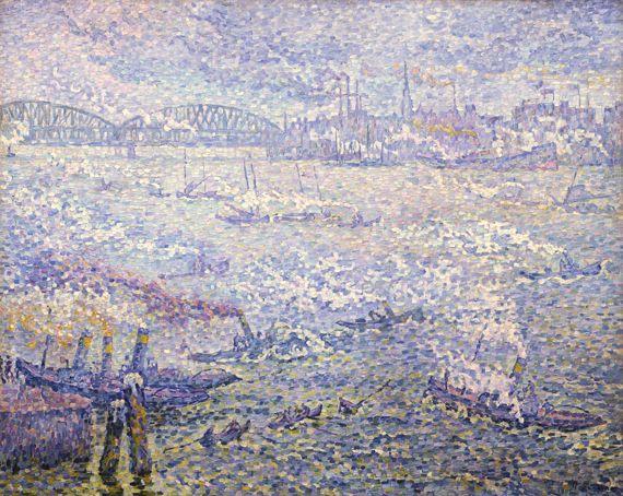 """Paul Signac, """"Rotterdam. Les fumées"""", 1906. Huile sur toile, 73 x 92 cm. Shimane (Japon), Shimane Art Museum."""