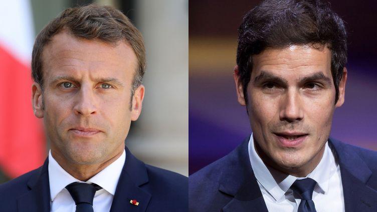 Emmanuel Macron / Mathieu Gallet (LUDOVIC MARIN / AFP / IAN LANGSDON / MAXPPP)
