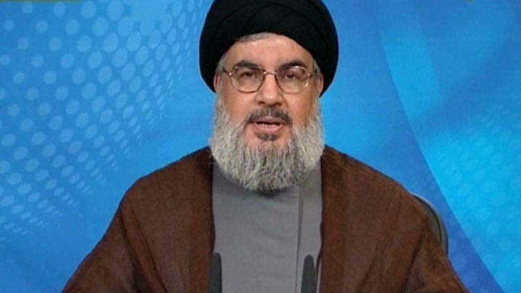 Capture d'écran de l'intervention de Hassan Nasrallah, chef du Hezbollah, le 30 avril 2013, à la télévision libanaise Al-Manar. (AL-MANAR TV / AFP)