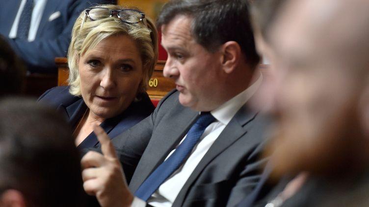 Marine le Pen et Louis Aliot à l'Assemblée nationale à Paris, le 14 mars 2018. (GERARD JULIEN / AFP)