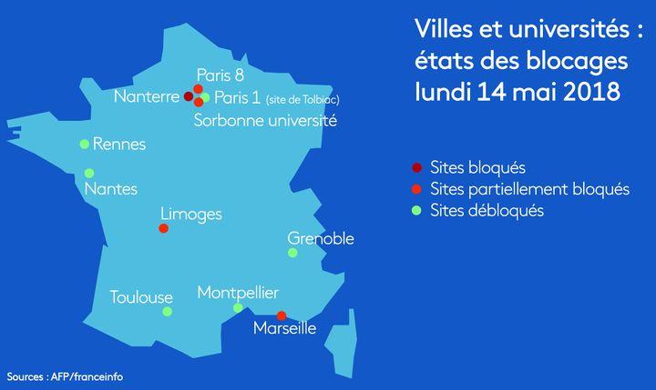 Villes et université où les blocages ont été débloqués en date du lundi 14 mai 2018  (RADIO FRANCE / FRANCEINFO /STEPHANIE BERLU)