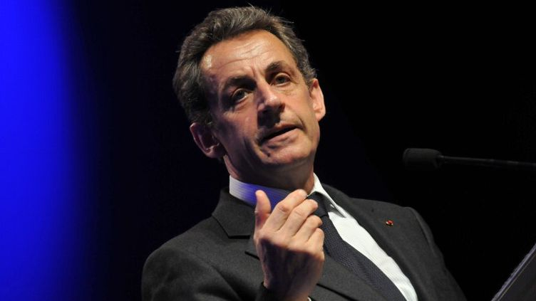 Nicolas Sarkozy, à la Maison de la Mutualité (Paris), le 11 avril 2012. (ZAER BELKALAI / CITIZENSIDE.COM / AFP)