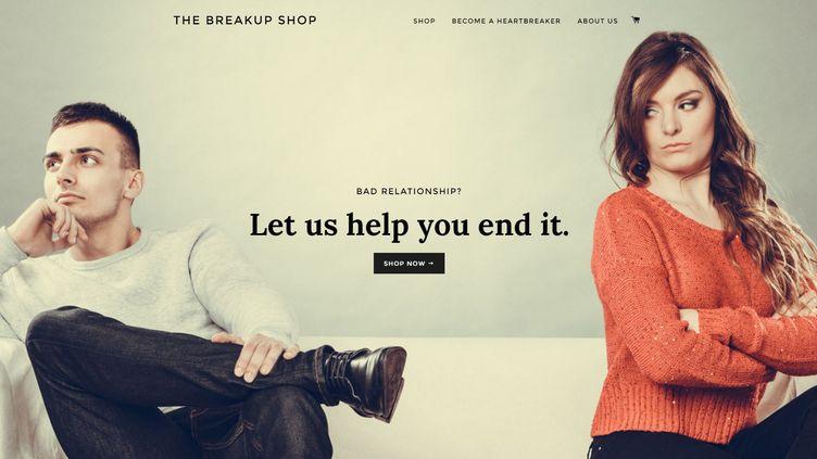 """Capture d'écran du site internet """"The Breakup Shop"""", le site qui propose de rompre à votre place. (THE BREAKUP SHOP)"""