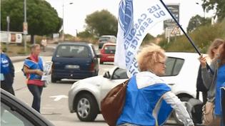 Des salariés du supermarché Cora de Pacé (Ille-et-Vilaine) manifestent contre l'ouverture le dimanche (CAPTURE D'ÉCRAN FRANCE 3)