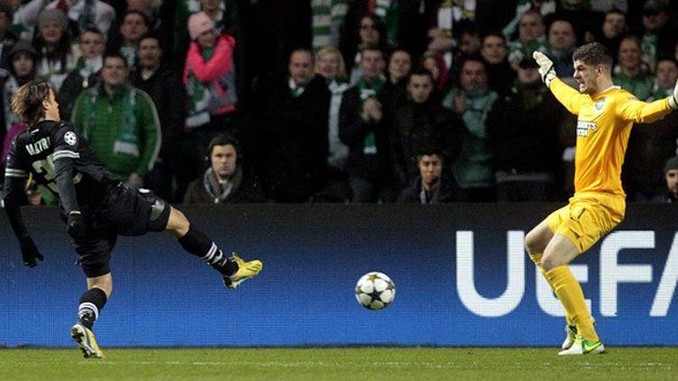 Matri marque pour la Juventus Turin à Glasgow (GRAHAM STUART / AFP)