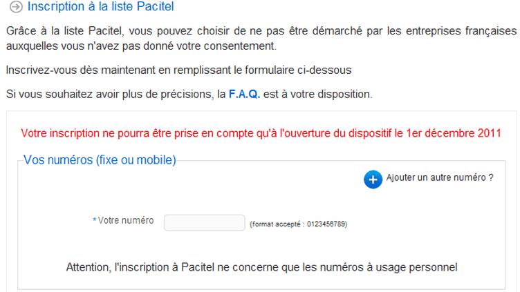 Capture d'écran du site de Pacitel. (DR)