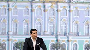 Le Premier ministre grec Alexis Tsipras, en visite vendredi 19 juin à Saint-Petersbourg (Russie). (OLGA MALTSEVA / AFP)