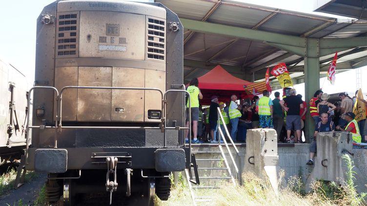 Des membres de la CGT manifestentcontre l'arrêt de l'exploitation du train de primeurs à Perpignan (Pyrénées-Orientales), le 12 juillet 2019. (RAYMOND ROIG / AFP)