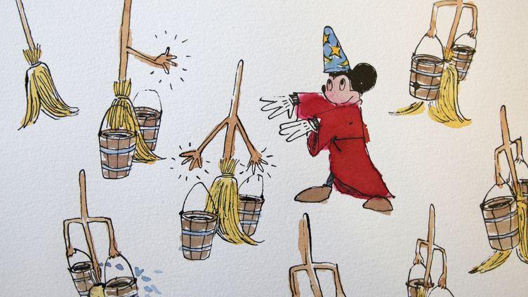 L'apprenti sorcier de Fantasia par Paul Smith.Aquarelle, Œuvre sur papier.21 x 30 cm avec cadre.Estimation: 1.000/1.500 €  (Cédric Bolusset)