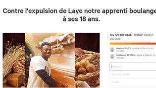 Capture d'écran de la pétition lancée contre l'expulsion d'un jeune apprenti boulanger de Besançon (Doubs). (CHANGE.ORG)