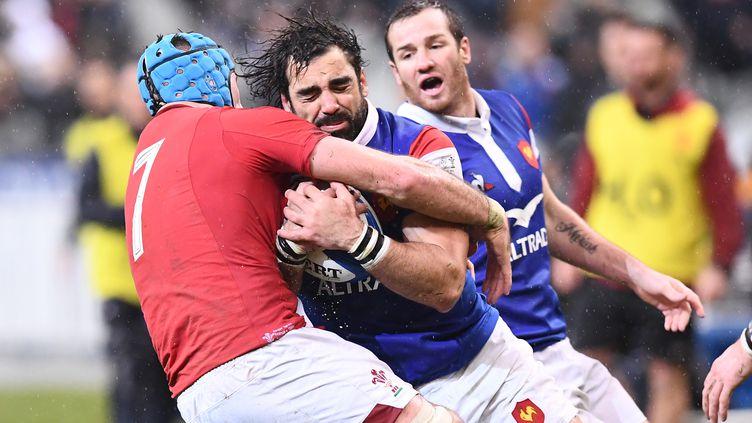 Le XV de France contre le pays de Galles, le 1er février 2019, au Stade de France, lors du Tournoi des six nations. (FRANCK FIFE / AFP)