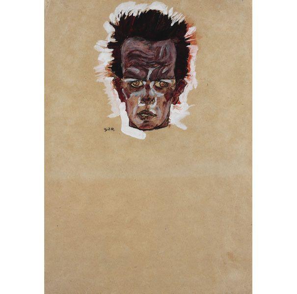 "Egon Schiele, ""Autoportrait, tête"", 1910,Ömer Koç  (Photo : © Hadiye Cangókçe)"