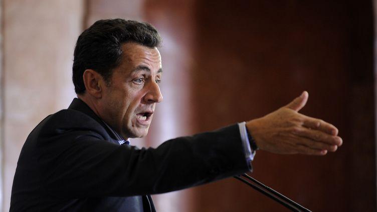 Le président Nicolas Sarkozy, lors d'un discours à Sofia, en Bulgarie, le 4 octobre 2007. (ERIC FEFERBERG / AFP)