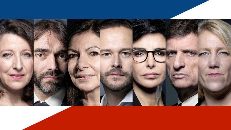 Les sept candidats à la mairie de Paris participant au débat du service public, le 10 mars 2020. (ERIC FEFERBERG, JOËL SAGET, BERTRAND GUAY / AFP / RADIO FRANCE / STEPHANIE BERLU)