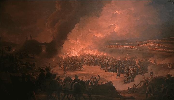 Napoléon Ier visitant les bivouacs de l'armée à la veille de la bataille d'Austerlitz, le 1e décembre 1805. Oeuvre de Louis Albert Guislain Bacler d'Albe  (France 3)