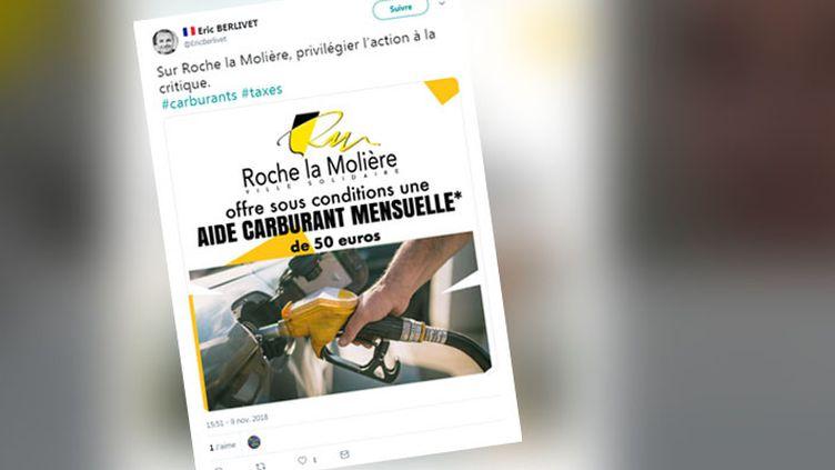 Capture d'écran du maire de Roche-la-Molière, dans la Loire. (CAPTURE D'ECRAN TWITTER)