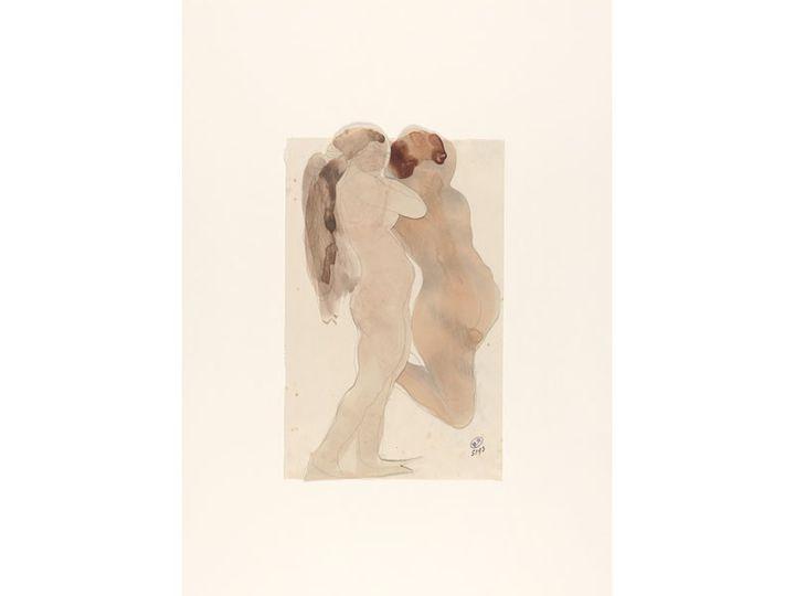 """Auguste Rodin, """"Deux femmes nues de profil dont l'une est agenouillée"""", crayon graphite et aquarelle sur deux papiers découpées et collés sur papier vélin  (musée Rodin, photo Jean de Calan)"""