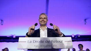 Le président des Républicains, Laurent Wauquiez, lors d'un meeting à Paris, le 20 novembre 2017. (HAMILTON / REA)