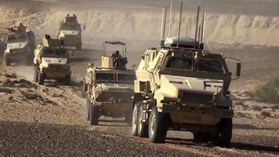 Cette capture d'image d'un document vidéo montre des véhicules blindés de l'armée égyptienne circulant dans le nord du Sinaï où se sont implantés des groupes jihadistesaffiliés à l'État islamique. Le 8 décembre 2020. (- / EGYPTIAN DEFENCE MINISTRY)
